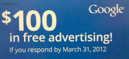 $100 in free Google AdWords